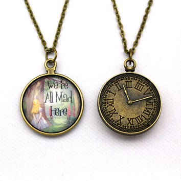 Alice in Wonderland, We're All Mad Here, Double-Sided Clock Necklace