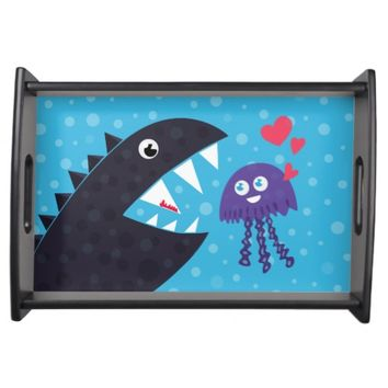 Cute Jellyfish In Love With Sea Monster Serving Tray