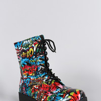 Bamboo Graffiti Round Toe Lace Up Lug Sole Combat Ankle Boots