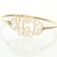 Gold Monogram Bracelet with 3 Initial Monogram, personalized with your custom monogram