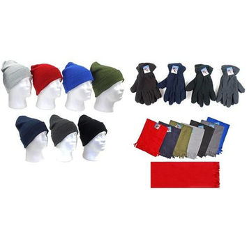 Men's Premium Knit Hats, Fleece Gloves, and Solid Scarves