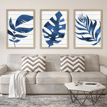 WATERCOLOR Banana Monstera LEAF Wall Art, Blue Watercolor Banana Leaf Living Room Art, Botanical Tropical Artwork, Set of 3 Canvas or Print