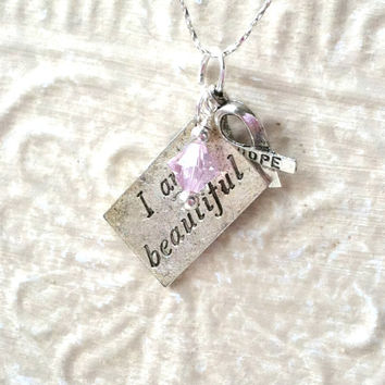 "Pink Ribbon Necklace - Breast Cancer Support, Metal Stamped ""I am Beautiful"" Charm, Pink Swarovski Crystal Necklace, Silver Ribbon Charm"