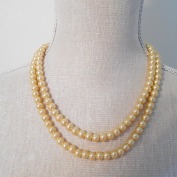 Pearl necklace, Two strand gold glass beads, Unique for wedding, Bridesmaid Gifts, Mother of the Bride, Bridal, For her, Valentine's day