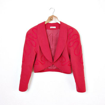 80s KL by Karl Lagerfeld Crop Red Jacket. Iconic Luxury Designer Fashion. Piping Design. Bolero Style. Size 38