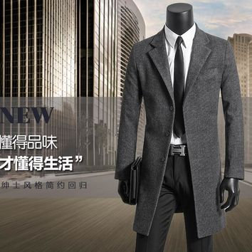 Men's clothing plus size 9XL wool coat mens overcoat woolen coats single-breasted outerwear gray casaco masculino fashion 2017