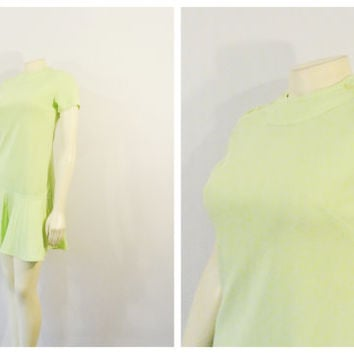 Vintage Dress 60s 70s Mod Mini Dress Vicky Vaughn Lime Green Drop Hip Pleated Skirt Modern XXS - XS