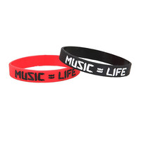 Music = Life Rubber Bracelet 2 Pack