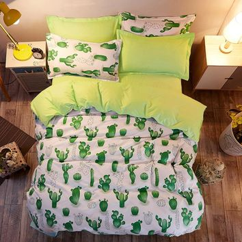 Bedding Sets Russia USA Europe Size Duvet Cover Set Soft Bedding Comfortable Not Ball Not Fade Bedclothes Cactus
