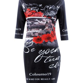 Casual Round Neck Modern Unique Printed Bodycon Dress