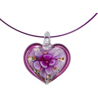 Handcrafted Burgundy Glass Flower Heart Wire Choker