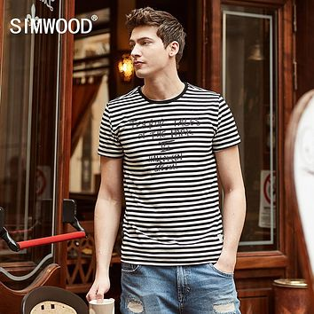 New Summer Striped T Shirts Men Letter Fashion Tees Pure Cotton O neck Clothing