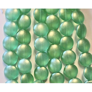 Lot of 8 Czech glass coin beads - 14mm puffy pillow beads - Sueded Gold Peridot Green - C40101