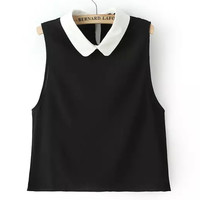 collar sleeveless blouse