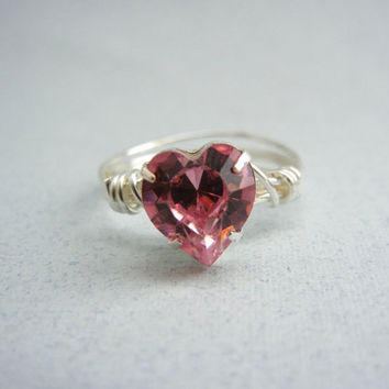 Pink Heart Ring - Pink Crystal Ring - Wire Wrapped Ring