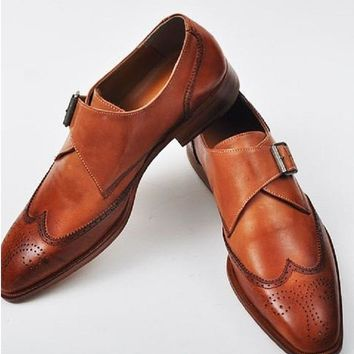 Men Brown Brogue Single Monk Strap Genuine Leather Shoes