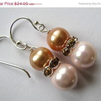 Pink Pearl Earrings, Peach Pearl Earrings, Champagne Crystals, Bali Sterling Silver, Bridesmaids, Handmade Gift For Her, FREE SHIPPING