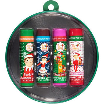 The Elf on the Shelf 4 0.12oz Christmas Flavored Lip Balms in Decorative Green Tin