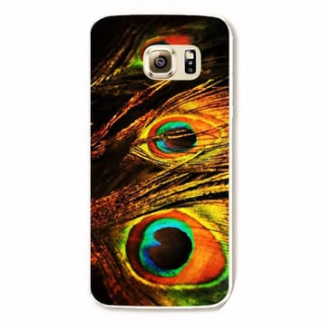 Samsung Galaxy S6 Peacock Feathers Case Hard Plastic Galaxy S6 Edge Peacock Back Cover Samsung S6 Edge Cover Feathers SE12