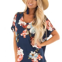 Navy Floral V Neckline Top with Side Slits