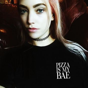 Pizza Is My Bae Shirt In Black