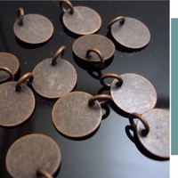 8 Copper charm 8mm Jewelry Findings Supplies round metal disc coin  id1090124