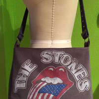 Rolling Stones Bag Upcycled Concert T-Shirt Crossbody Bag