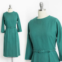 Vintage 60s Dress - Emerald Green Wool Fitted Pin Up Wiggle Day Dress 1960s - Medium M