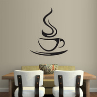 rvz1792 Wall Vinyl Sticker Kitchen Decal Coffee Curly Cup Hot