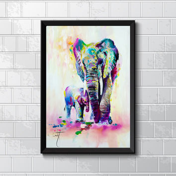 Kate Canvas Painting HD Printed On Canvas Art Animal Elephant Son Wall Pictures For Living Room Home Decor Unframed