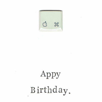 Appy Birthday Card: Funny Nerdy Geekery Geeky Computer Gift Happy Simple Minimalist iPhone Programmer Coder Designer App Apple Happy Pun
