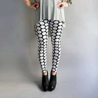 Polka Dot Leggings in White n Black -  MADE To ORDER
