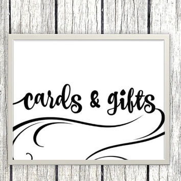 Printable cards and gifts Sign for wedding or event - classic elegant swirly black and white printable download - download and print today
