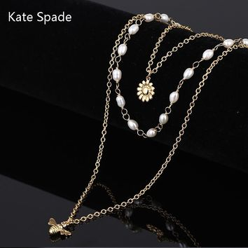 Kate Spade New Fashion More Pearl Bee Floral Pendant High Quality Necklace Women Gold