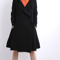 one button Large lapel black Long Windbreaker coat