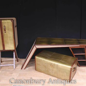 Canonbury - Art Deco Campaign Desk Chest Cabinet Set Writing Table