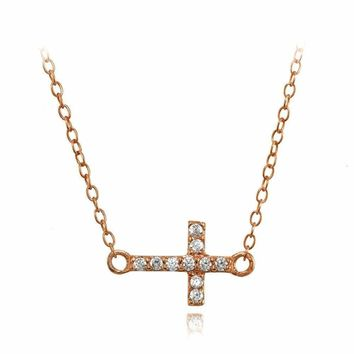 Sideways Cross Cubic Zirconia Choker Necklace in Rose Gold Plated 925 Silver