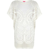 River Island Womens Cream lace studded oversized t-shirt