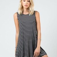 Striped Jersey A-Line Dress - Medium