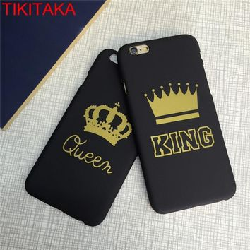 Trendy Luxury Couple KING Queen Crown Phone Case For iPhone 7 Ultra Thin Matte Hard Plastic Funda Case For iPhone 7 8 Plus 6s 6 Plus X AT_94_13