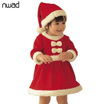 Red Baby Girls Winter Dress 2017 New Arrival Christmas Bow Clothes For Newborn Baby Girl Party Dresses With A Cap FA008