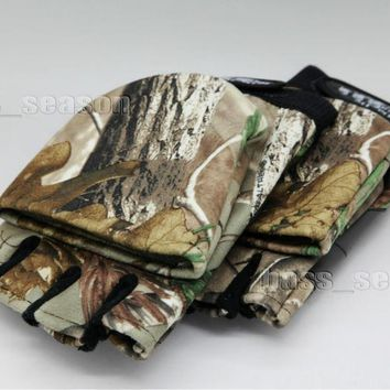 Pair Hunting Gloves Convertible fingerless RealTree Camo Camping Fishing Gloves Free shipping