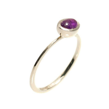 Purple Amethyst Engagement Gold Ring in oval cat 4/6mm - february birthstone.