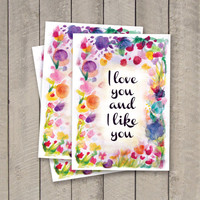 FIVE PACK! I love you and I like you Parks & Recreation 5x7 card