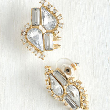 Wishful Twinkling Earrings in Rhinestone by ModCloth