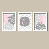 Pink Grey Custom Monogram Flower Burst Letter Initial Set of 3 Trio Prints Chevron WALL Decor Abstract ART Bedroom Picture NURSERY Crib Baby