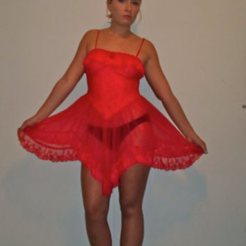 90s Red Ruffled Floral Lace Teddy Negligee w/ Full Sheer Mesh Skirt Ruffle