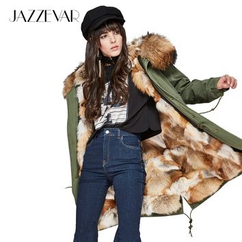 New Fashion Woman Luxurious Natural color Real Fox fur Military Parka detachable Hooded Coat Outwear Winter Jacket