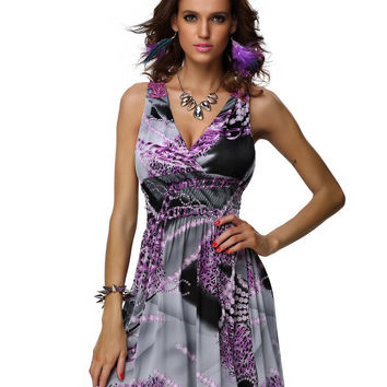 Printed Crochet Sleeveless V-neck A-Line Pleated Mini Dress
