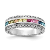 925 Sterling Silver Regal Rainbow CZ Ring